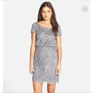 Adrianna Papell Grey Cap Sleeve Sequin Dress 8